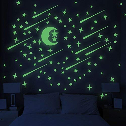 UNOMOR Glow in Dark Stars and Moon, Glowing Stars for Ceiling and Wall Decals, Perfect for Kids Bedding Room or Party Birthday Gift – 216 pcs -