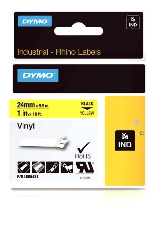 (DYMO Rhino Adhesive Vinyl Label Tape, 1-inch, 18-foot Cassette, Yellow (1805431) )