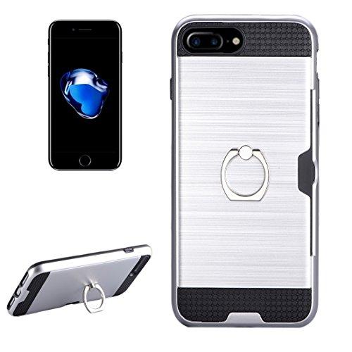 IPhone 7 Plus Case, Texture Metall Schutzmaßnahmen zurück Fall mit Ring Halter Stand und Card Slot CASE FÜR IPHONE 7 PLUS ( Color : Silver )