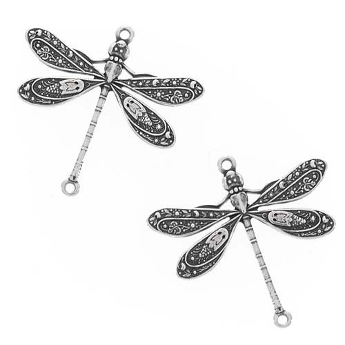 Beadaholique Guyot: 7750 2-Piece Dragonfly Connector Links, 24mm, Antiqued Silver - 24mm Bead