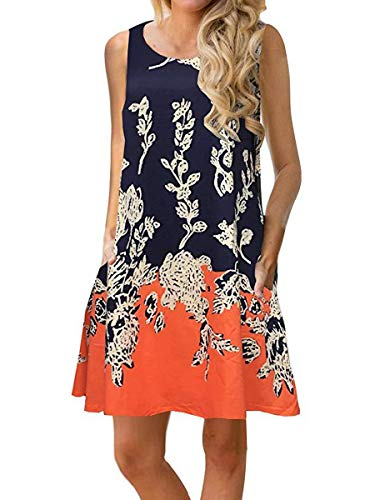 Pleated Flounce - Dasivrry Ladies Retro Vogue Pleated Baggy Flounce Flowy Flared Dress with Pockets Orange S