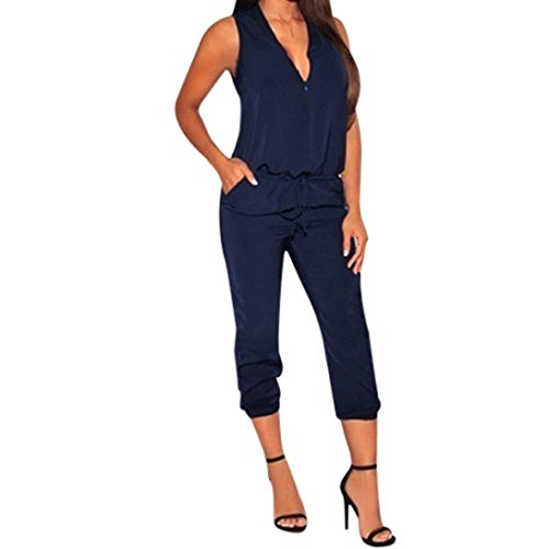 ABASSKY Jumpsuit for Women,Casual Solid Color Sleeveless Shirt V-Neckline Siamese Pants Zipper Jumpsuits (Blue, L)