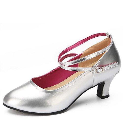 T.T-Q Zapatos de Baile de Mujer Tacones de Polipiel Tacón Grueso Tacón Interior Astilla