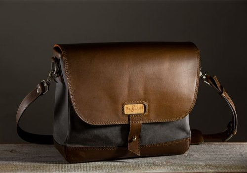 The Messenger Bag - Charcoal/Chocolate by Pad and Quill