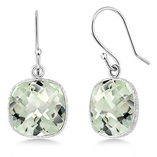 - Gem Stone King 12 ctw Sterling Silver Green Amethyst Cushion Checkerboard Dangle Earrings