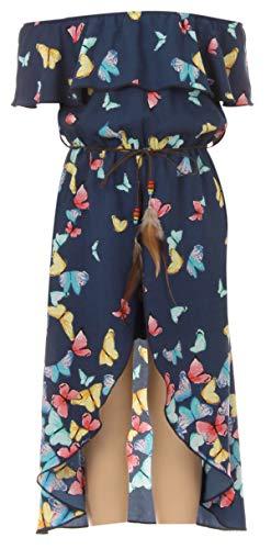 Big Girls 2 Ways Ruffle Hi Lo Maxi Skirt Romper Belt Jumpsuit Butterfly Romper USA Navy 14 (2J1K73S)
