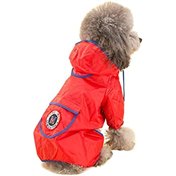 TOPSUNG Dog Raincoat Waterproof Puppy Jacket Pet Rainwear Clothes for Small Dogs/Cats Red