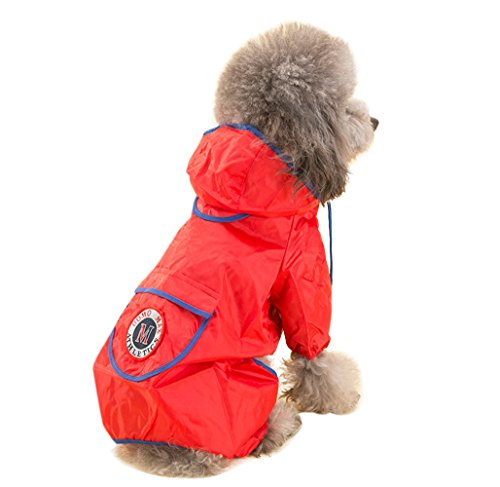 - Topsung Dog Raincoat Waterproof Puppy Jacket Pet Rainwear Clothes for Small Dogs/Cats Red