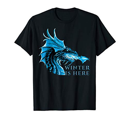 - Winter is Here Blue Ice Flames Crystal Eyes Dragon T-Shirt