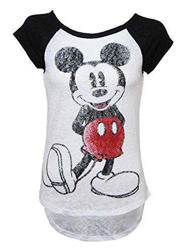 Disney Juniors Mickey Mouse Raglan Style Cap Sleeved Classic Burnout Tee