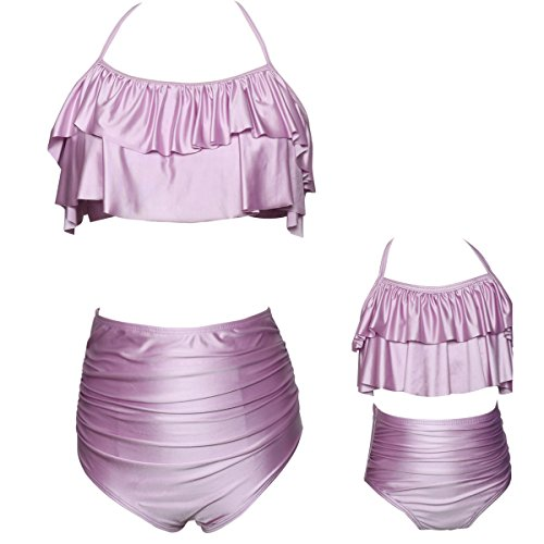 Qunlei Mommy and Me Swimsuits Two Pieces Retro Boho Flounce Falbala High Waisted Beach Bikini Set for Women/Girls Metal Pink XL