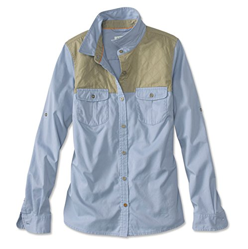 Orvis Women's Midweight Shooting Shirt, Tan/Blue, Small by Orvis