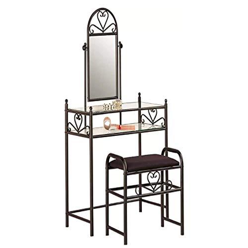 Makeup Vanity Set with Mirror&Cushioned Stool Dressing Table Set Iron Metal Vanity Makeup Desk Table 2 Shelves Vantity Desk Organizers Dressing Table Dresser Desk Heart Shaped Bedroom Women Girls