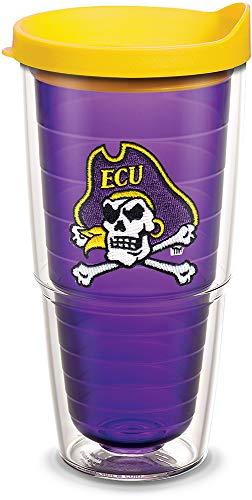 Tervis 1154726 East Carolina Pirates Cross Bones Logo Tumbler with Emblem and Yellow Lid 24oz, Amethyst East Carolina Pirates Logo