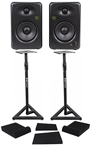 Pair Rockville ASM5 5'' Powered USB Studio Monitors + Stands+Foam Isolation Pads by Rockville