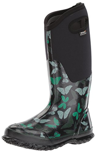 Bogs Women's Classic Butterflies Snow Boot, Black/Multi, 7 M US by Bogs
