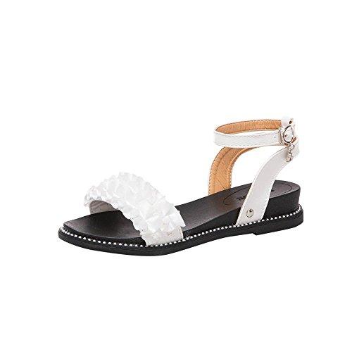 Blanc Talon Sandales Plastique Femmes Orteil Sandales Ronde Beach Hasp Solide Fleur Sandales Water Sandales Pente Beautyjourney Salt Ete Chaussures BUq6ZwwC