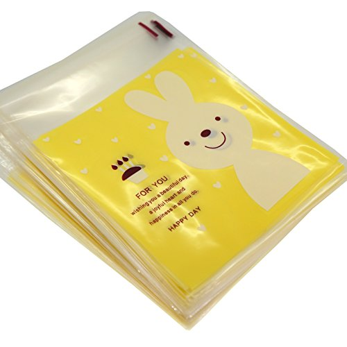White Rabbit Cookie Candy Gift Wrapping Yellow Bags, Self-Adhesive, Pack of 95