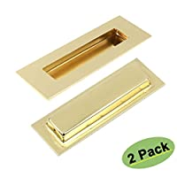 Homdiy Flush Pulls Rectangular Brushed brass Cabinet Pulls Square HD018 Recessed Sliding Door Handles Sliding Pocketdoor Finger Pulls 6in x 2in 2 Pack