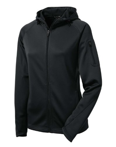 Sport-Tek Ladies Tech Fleece Full-Zip Hooded Jacket, XS, Black ()
