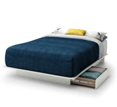 SKB Family Queen size Contemporary White Platform Bed with 2