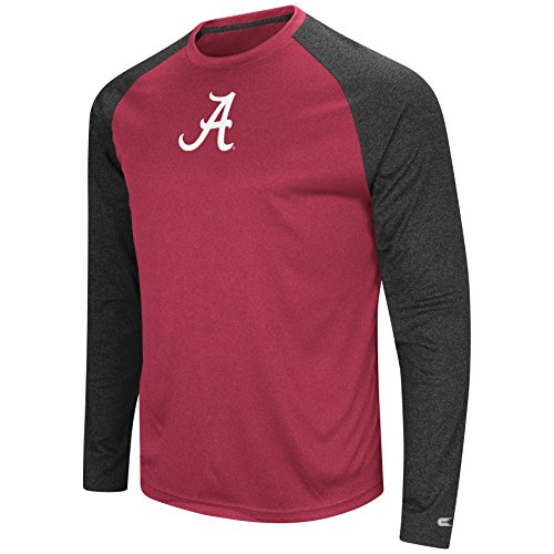 Colosseum Alabama Crimson Tide Adult NCAA Lumbergh Long Sleeve Raglan T-Shirt - Cardinal, Small