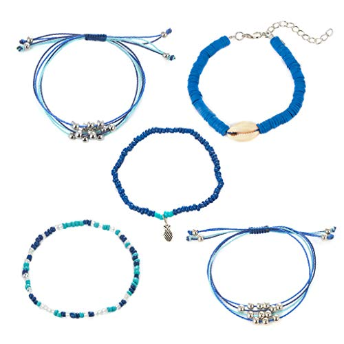Tuscom 5 Pieces Strand Bracelet Set Handmade Adjustable Braided Rope Wrap Waterproof Cowrie Shell Beaded Pineapple Boho Charm Stretch String Thread Multilayer Bracelets Friendship Jewelry Gift (5Pcs) ()
