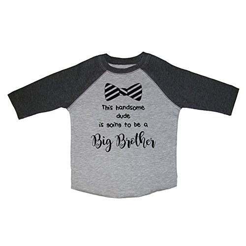 Mashed Clothing Bow Tie This Handsome Dude Is Going To Be A Big Brother Toddler & Youth Baseball Raglan T-Shirt (Smoke, 4T, Black Print)