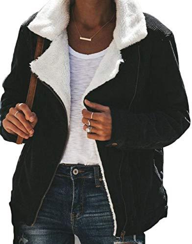 Womens Corduroy Sherpa Jacket Coat Long Sleeve Lapel Open Front Cardigan Zipper Outwear with Pockets (L, Black)