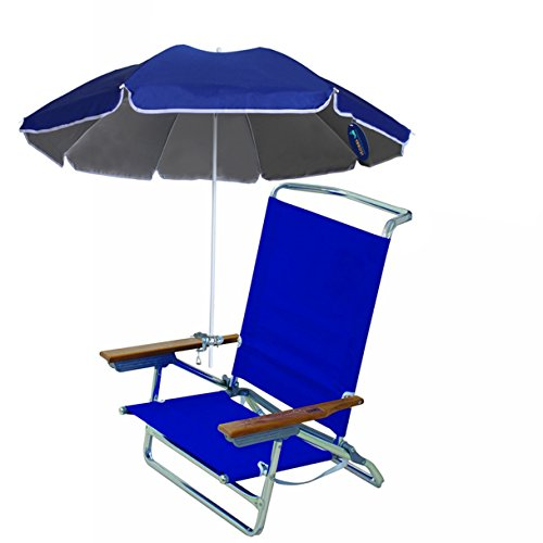 AMMSUN 4.5ft Portable Deck Chair Umbrella Lightweight Balcony Parasol + Clamp On Screw ,Children Clip Umbrella Beach Umbrella Sun Shelter Sun Shade with Silver Coating Inside Royal Blue