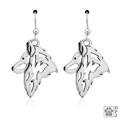 STERLING SILVER BELGIAN TERVUREN SHEPHERD DOG HEAD EARRINGS ON FRENCH WIRES