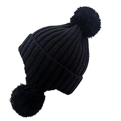 ZHAS Bola de pelo proteger el oído Cálido gorro de punto, Exterior Moda Sombrero peludas Black