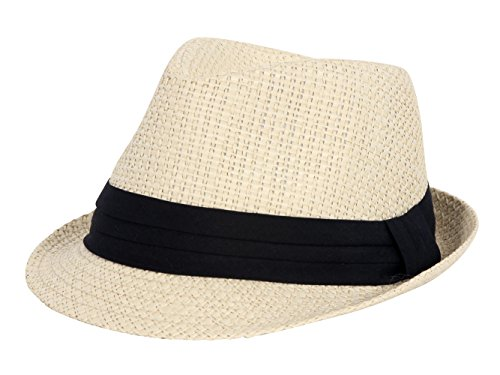 Straw Black Banded Fedora Hat - Ivory ()