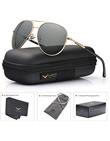 57ae9eb9d1c Mens Womens Sunglasses Aviator Polarized Driving by LUENX - UV 400  Protection Grey Green Lens Gold
