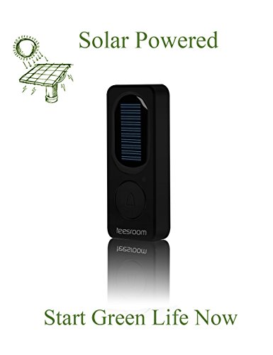 TEESROOM Solar Wireless Doorbell Kit Waterproof Remote Panel Push Button Plug-in Receiver with LED night light at 980 Feet 52 Chime for Outdoor/Indoor Use No Batteries Required for the Receiver Black