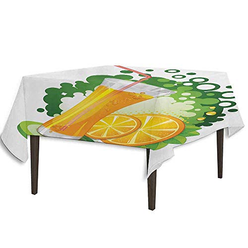 kangkaishi Green and Orange Leakproof Polyester Tablecloth Glass of Orange Juice with Green Toned Background with Fruit Slices Leaves Dinner Picnic Home Decor W70 x L70 Inch Multicolor