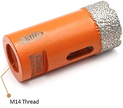 BGTEC Dry Diamond Core Drill Bits for Porcelain Tile Ceramic Marble Brick M14 Thread 2pcs Diameter 60mm
