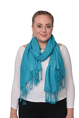 C-More Elegant Pashmina Silk Blend Soft Wrap Scarf Shawl For Women -30+ Solid Colors (Turquiose) ()
