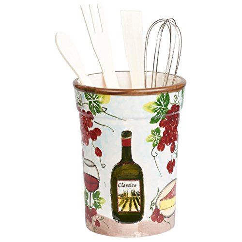 Lorren Home Trends P2064 Utensil Holder Grape Ceramic, (Grape Holder)