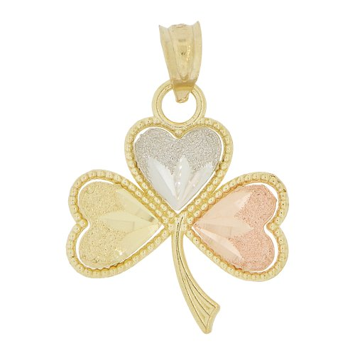 14k Tricolor Gold, Good Luck Heart Leaves Clover Pendant - Color Leaf Tri Gold Pendant