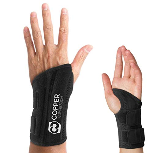 Copper Compression Wrist Brace - Guaranteed Highest Copper Content Support for Wrists, Carpal Tunnel, Arthritis, Tendonitis. Night Day Wrist Splint for Men Women Fit Right Left Hand (Left Hand ()