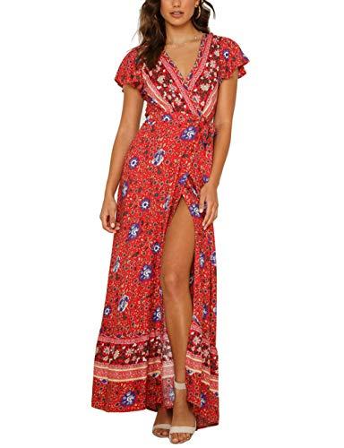 (OQC Women's Bohemian Floral Print Wrap V Neck Short Sleeve High Split Belted Summer Beach Maxi Dress Red)