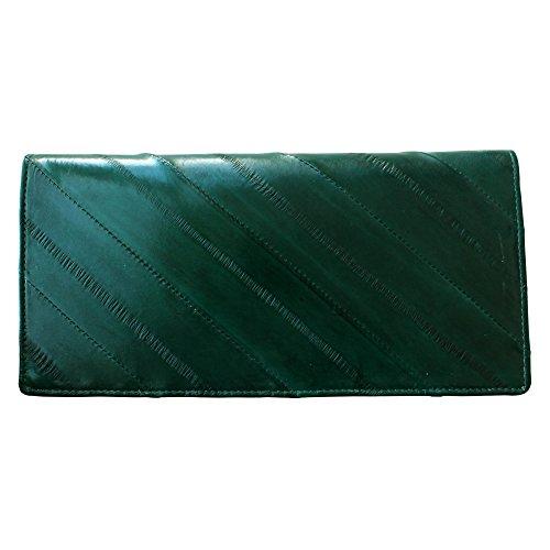 Eel Green (Rainbow Women's Genuine Eel Skin Leather Diagonal Slim Wallet Credit Cards Coin Purse (Dark green))