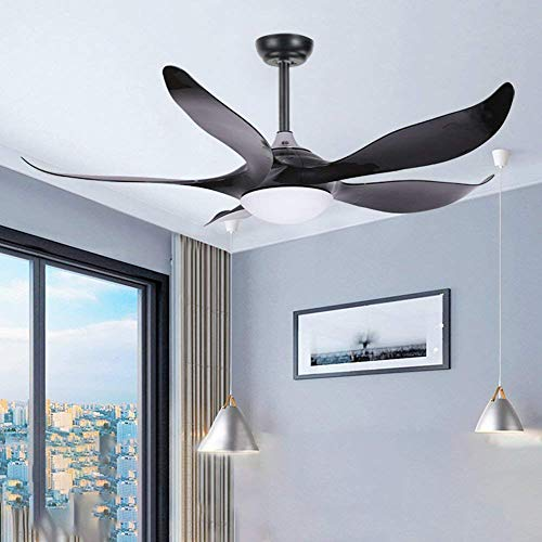 Akronfire Unique Ceiling Fan ABS Curved Blade with Remote Control for Living Room Dining Room Bedroom, Black Finish 52 In ()