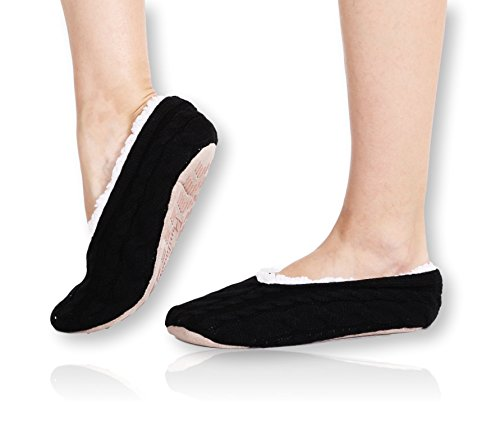 Pembrook Ladies Cable Knit Slippers – Black - Medium (7-8) – Ballet Style With Non-Skid Sole - Faux Shearling Lining and Suede Sole - Great Plush Slip On House Slippers For Adults, Women, Girls (Shearling Lining)