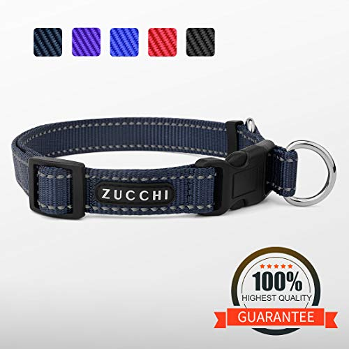 ZUCCHI Medium Dog Collar, Reflective and Comfy, Neck 16-22