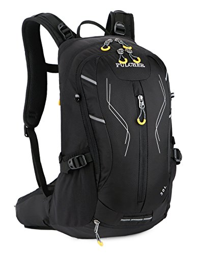 Cycling Hiking Backpack 30L Internal Frame Hydration Pack Waterproof Lightweight for Men and Women with Helmet Net (Black/Black)