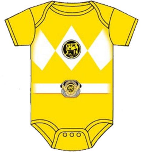 Power Rangers Baby Ranger Costume Romper Onesie (12-18 Months, Yellow)