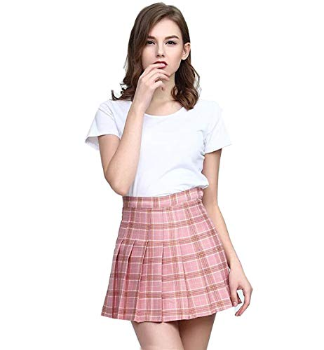 Clarisbelle Women Plaid Skirt High-Waisted Pleated Mini Skirts with Soft Shorts Underneath Pink Checks 2XL