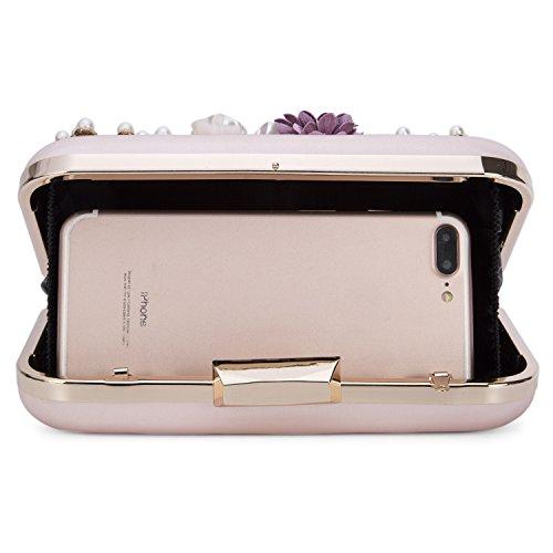Wedding Evening Clutch Handbag Clutch Purse Chichitop Flower Pink Women's Evening Pearl W60TW4FZ